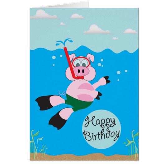 Pig Swimming - Happy Birthday Greeting Card
