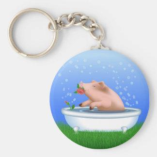 Pig Taking Bath Basic Round Button Key Ring