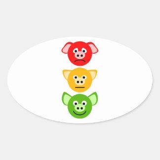 Pig Traffic Lights Oval Sticker