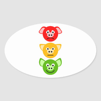 Pig Traffic Lights Oval Stickers