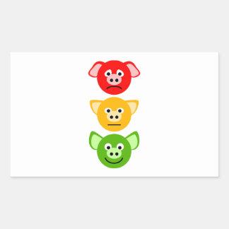 Pig Traffic Lights Rectangular Sticker