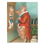 Pig Tying His Cravat Post Card