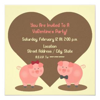 Pig Valentine's Party Invitation