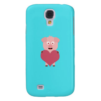 Pig with big Heart for Valentine Q1Q Galaxy S4 Case