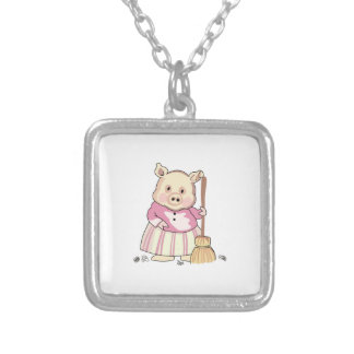 Pig With Broom Square Pendant Necklace