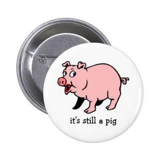 Pig with Lipstick - Button