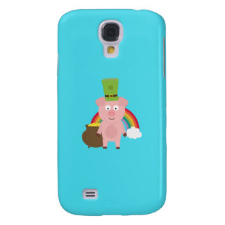 Pig with Patricks Day Hat Q1Q Galaxy S4 Case