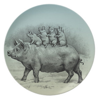 Pig with Piglets Dinner Plates