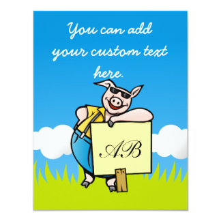 Pig with Sign 11 Cm X 14 Cm Invitation Card