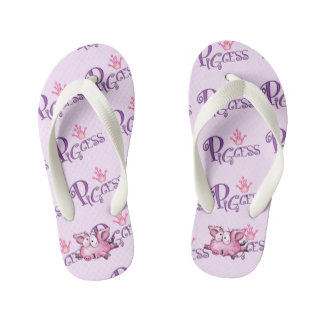 PIGCESS Flip Flops Kids  Toddler White Footbed