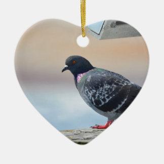 Pigeon Ceramic Heart Decoration