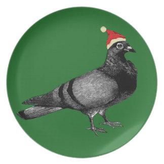 pigeon christmas plate