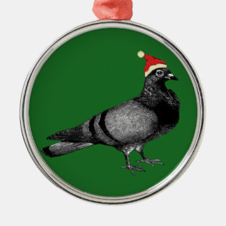 pigeon christmas Silver-Colored round decoration
