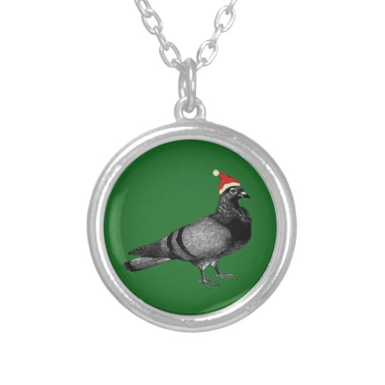 pigeon christmas silver plated necklace