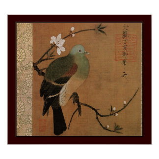 Pigeon on the Peach Tree Vintage Japanese Floral Poster