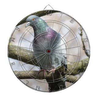 pigeon on tree dartboard