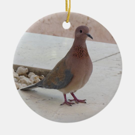 Pigeon ornament, customizable round ceramic decoration