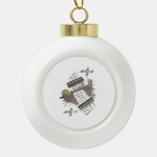 Pigeon Plane Bauble Ceramic Ball Christmas Ornament
