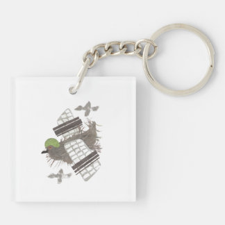 Pigeon Plane Double Sided Keyring