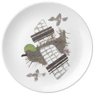 Pigeon Plane Porcelain Plate