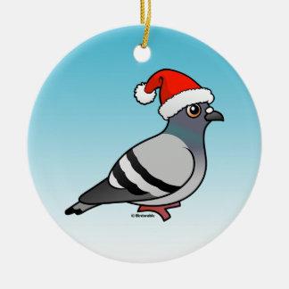 Pigeon Santa Claus Christmas Round Ceramic Decoration