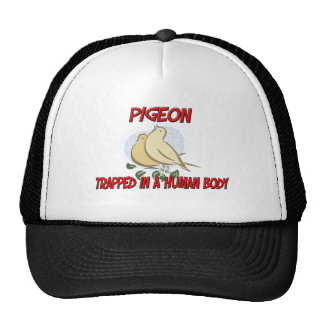 Pigeon trapped in a human body cap