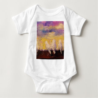 Pigeons at sunset baby bodysuit