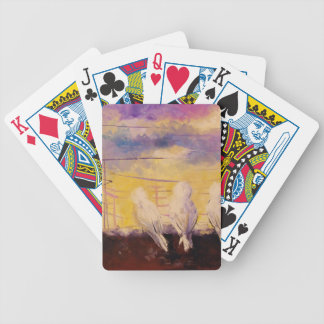 Pigeons at sunset bicycle playing cards