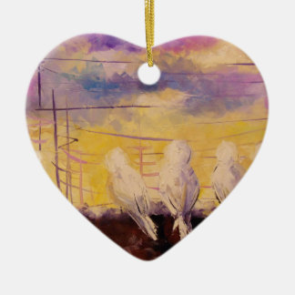 Pigeons at sunset ceramic heart decoration