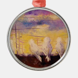 Pigeons at sunset christmas ornament