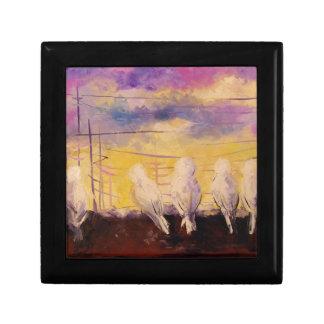 Pigeons at sunset gift box