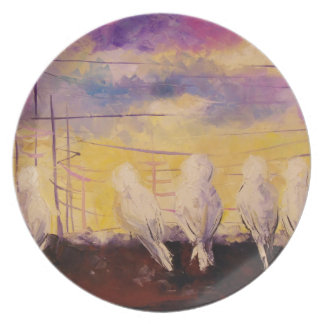 Pigeons at sunset plate