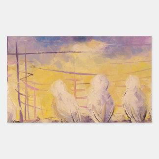 Pigeons at sunset rectangular sticker