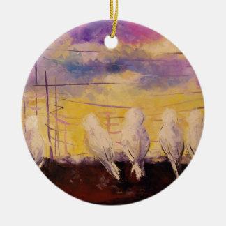 Pigeons at sunset round ceramic decoration