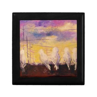 Pigeons at sunset small square gift box