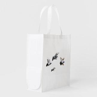 Pigeons Birds Sky Nature Peace Love Destiny Reusable Grocery Bag