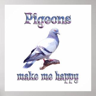 Pigeons Make Me Happy Poster