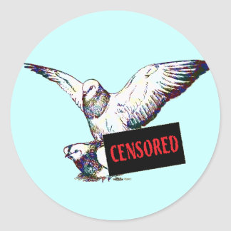 Pigeons Mating:  Censored! Round Stickers