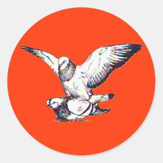 Pigeons Mating Round Sticker
