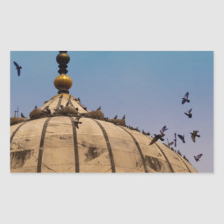 Pigeons on a dome rectangle stickers