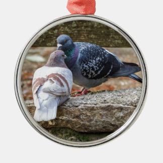 pigeons on lake christmas ornament