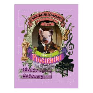 Piggienini Funny Pig Animal Composer Paganini Postcard