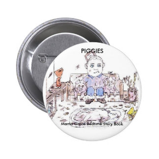 PIGGIES, Mama Groce Bedtime Story Book 6 Cm Round Badge