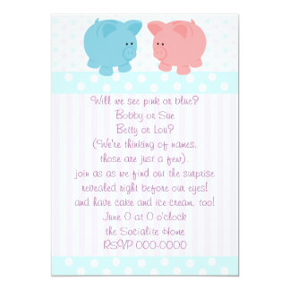 Piggies of Pink and Blue 13 Cm X 18 Cm Invitation Card