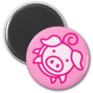 Piggy 6 Cm Round Magnet
