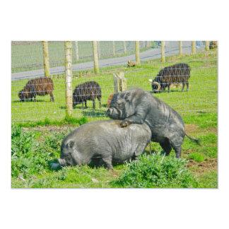 Piggy Back Ride 13 Cm X 18 Cm Invitation Card