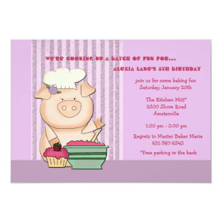 "Piggy Baker - Birthday Party Invitation 5"" X 7"" Invitation Card"