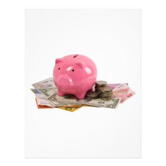 Piggy bank and money 21.5 cm x 28 cm flyer