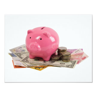 Piggy bank and money personalized invites