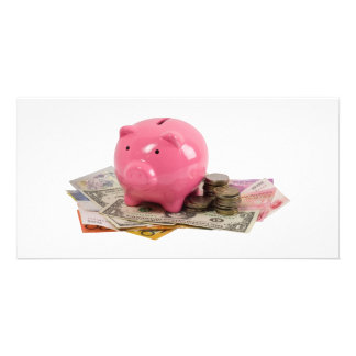 Piggy bank and money picture card